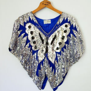 Vintage 70s/80s Butterfly Sequin Gypsy Disco Top